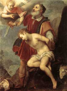 Ludovico Cardi, dit Il Cigoli: le sacrifice d'Isaac. Vers 1607. Huile sur toile; 175,5 x 132,2cm. Florence, Palais Pitti