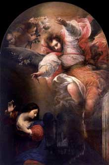 Sebastiano Mazzoni: l'Annonciation. Vers 1650. Huile sur toile. Venise, Galerie dell'Accademia