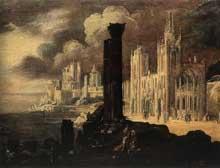 Monsu Desiderio (François de Nomé – Didier Barra): paysage avec immeubles. Huile sur toile, 78 x 103cm. Saint-Pétersbourg, musée de l'Hermitage