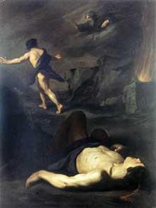 Pietro Novelli «Il Monrealese»: Caïn et Abel. Huile sur toile, 198 x 147cm. Rome, Galleria Nazionale d'Arte Antica