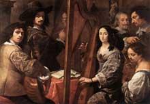 Carlo Francesco Nuvulone: l'artiste et sa famille. Huile sur toile, 126 x 180cm. Milan, Pinacothèque de la Bréra