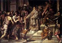 Jacopo Palma le Jeune: saint Laurent au secours des pauvres. Huile sur toile,  284 x 382cm. Venise, église San Giacomo dall'Orio