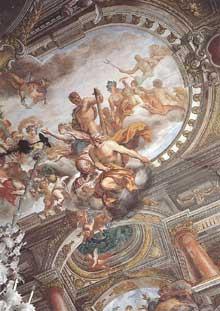 Domenico Piola: Janus, Hercule et la Paix. 1670. Fresque. Gènes, palais Spinola