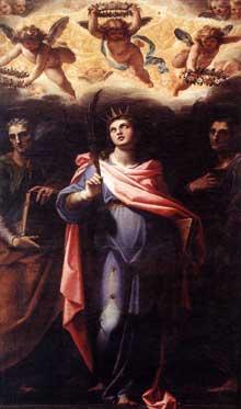 Cristoforo Roncalli, dit Pomarancio: sainte Domicille avec les saints Nérée et Achille. Vers 1598-1599. Huile sur toile, 275x170cm. Rome, église saint Nerée et Achille