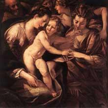 Giulio Cesare Procaccini: le mariage mystique de Sainte Catherine. Huile sur toile, 145 x 145cm. Milan, Pinacothèque de la Bréra
