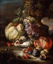 Giovanni Battista Ruopolo: nature morte aux fruits et aux animaux morts dans un paysage. Huile sur toile, 75 x 37cm. Boston, Museum of Fine Arts