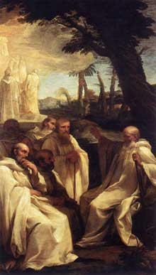 Andrea Sacchi: la vision de saint Romuald. Vers 1631. Huile sur toile. 310 x 175cm. Rome, Pinacothèque du Vatican