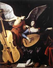 Carlo Saraceni: sainte Cécile et l'Ange. Vers 1610. Huile sur toile. 172 x 139cm. Rome, Galleria Nazionale d'Arte Antica