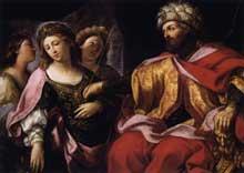Giovanni Andrea Sirani: Esther devant Ahasuerus. 1630s. Huile sur toile, 101 x 140cm. Budapest, musée des Beaux Arts.