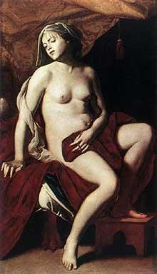 Massimo Stanzione: Cléopâtre. 1630. Huile sur toile, 169 x 99,5cm. Saint-Pétersbourg, musée de l'Hermitage