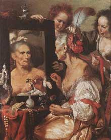 Bernardo Strozzi dit Il Cappucino: la vieille dame au miroir. Vers 1615. Huile sur toile, 132 x 108cm. Moscou, musée Pouchkine.