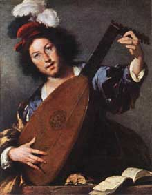 Bernardo Strozzi dit Il Cappucino: le joueur de luth. 1630- 1635. Huile sur toile, 92 x 76cm. Vienne, Kunsthistorisches Museum