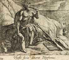 Antonio Tempesta: Polyphème dévore les compagnons d'Ulysse. Gravure tirée des Métamorphoses d'Ovide. Pétrus de Jode, 1606. Planche 134. Paris BNF, cabinet des Estampes