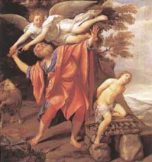 Domenico Zampieri dit le Dominiquin: le sacrifice d'Isaac. 1627-1628. Huile sur toile, 147 x 140cm. Madrid, musée du Prado