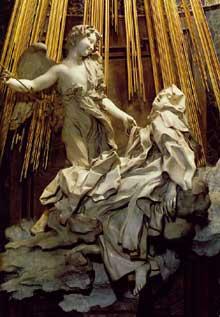 Gian Lorenzo Bernini: l'extase de Sainte Thérèse, 1647-1652. Marbre, 350cm. Chapelle Cornaro, Santa Maria della Vittoria, Rome