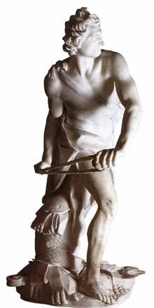 Gian Lorenzo Bernini: Dabvid, 1623-1624. Marbre, 170cm; Rome, Galerie Borghèse