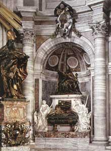 Gian Lorenzo Bernini: tombe du pape Urbain VIII; 1627-1647. Bronze doré et marbre. Rome, basilique saint Pierre