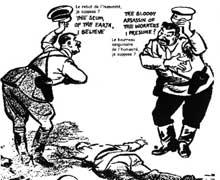 Caricature du pacte germano-soviétique : « Le rebut de l'humanité, je suppose ? » - « Le bourreau sanguinaire des travailleurs, je présume ? »