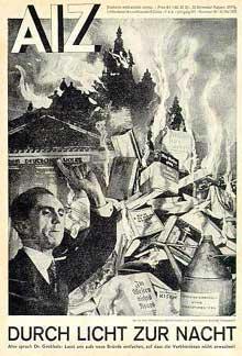 Affiche de propagande sur l'autodafé des livres