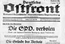 Titre de l'Ostfront, journal nazi de Silésie titrant sur l'interdiction du parti socialiste allemand (23 juillet 1933)