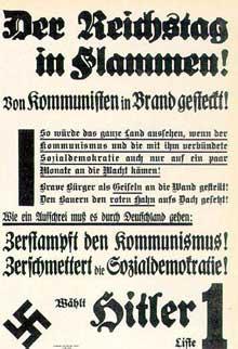 Affiche nazie à propos des élections de 1933 accusant les communistes de l'incendie du Reichstag