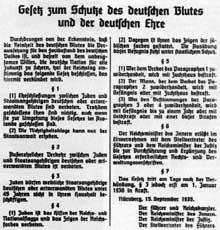 15 septembre 1935 : loi pour la protection du sang et de l'honneur allemand