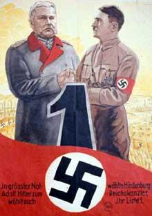Mars 1933 : affiche de propagande pour les élections : « Dans la situation d'urgence, Hindenburg à nommé <a class=