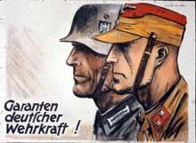 Affiche de propagande de la SA. Röhm tient à tout prix à soumettre la Wehrmacht à la SA. Ce que l'armée refuse absolument. <a class=