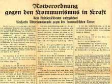 Le décret « Notverordnung » de Hindenburg du 28 février suspend les libertés élémentaires