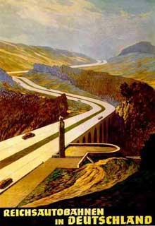 Affiche de propagande pour la construction d'autoroutes