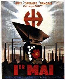 Affiche du parti populaire Français de Jacques Doriot