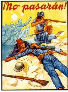 Affiche républicaine sur la guerre civile espagnole avec le célèbre