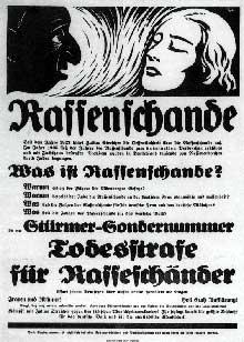 Affiche de 1936 punissant de la peine de mort les « Souilleurs de race »