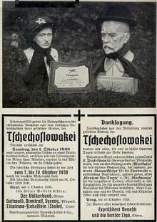 Tchécoslovaquie : octobre 1938 : carte postale humoristique : avis de décès pour la Tchécoslovaquie