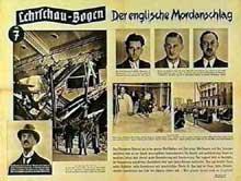 Affiche sur l'attentat d'Elser mettant en cause l'Angleterre