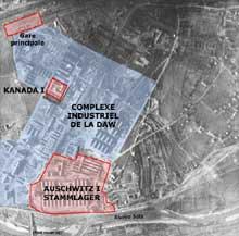 Auschwitz I: vue aérienne du Stammlager et du Kanada I