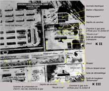 Auschwitz-Birkenau: vue aérienne prise par l'US Air Force. On voit à droite les KII et KIII. Entre eux et vers la gauche, la rampe de sélection