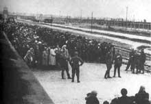 Auschwitz-Birkenau: une sélection sur la «Judenrampe». Il s'agit de la Judenrampe aménagée en 1944 à l'intérieur même de Birkenau