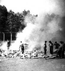 Auschwitz-Birkenau: photo clandestine prise par un membre du Soderkommando: les crématoires ne suffisant plus, on brûle les cadavres à l'extérieur du KV