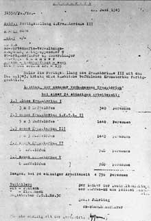 Auschwitz Birkenau: document allemand sur la capacité de crémation des BunkerI à V
