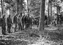 Quelque part en forêt, ces prisonniers attendent leur exécution. Camp de Buchenwald