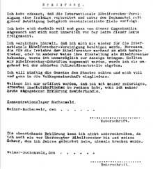 Buchenwald: fac-similé de la déclaration que les détenus «témoins de Jéhovah» devaient signer