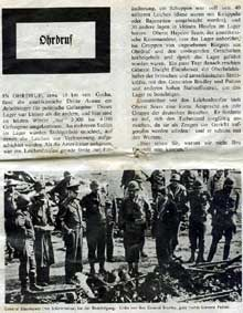 Buchenwald, camp-commando d'Ohrdruf : article et photo de la libération du camp. Quotidien allemand