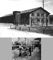 Dachau: le camp commando d'Allach: en haut, une baraque; en bas: un atelier de BMW