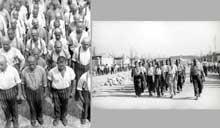 Dachau, juin 1938: photos de propagande: l'appel et le défilé sur la Lagerstrasse