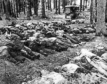 Ponary, près de Vilno. Un groupe de Juifs après un massacre, en 1943. Les corps sont sur le point d'être incinérés.