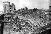 Bedzin: ruine de la synagogue détruite par les nazis