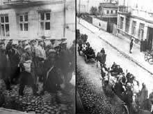 Ghetto de Brzeziny: Juifs en marche vers la gare de Galkowek lors de la déportation. D'autres sont transportés en voitures à chevaux