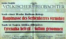Extrait du « Völkischer Beobachter » relatant la guerre en Cyrénaïque
