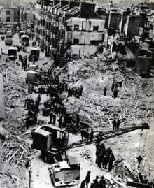 Un quartier de Londres détruit. Septembre 1940